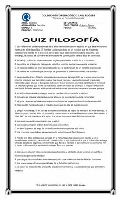 Interactive worksheet Quiz filosofía 9