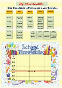 Interactive worksheet Timetable