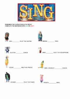 Interactive worksheet SING (the movie)