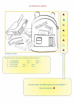 Interactive worksheet Les fournitures scolaires (test)