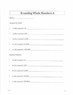 Interactive worksheet Rounding Whole Numbers A