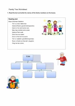 Interactive worksheet Family vocabulary reading