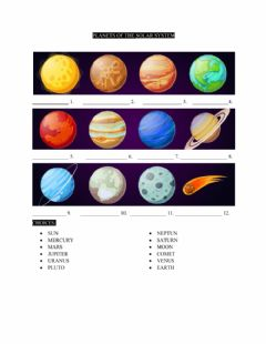Interactive worksheet Planets of the Solar System