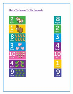 Interactive worksheet Match the Image to the Numerals