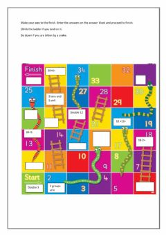 Interactive worksheet snakes and ladders
