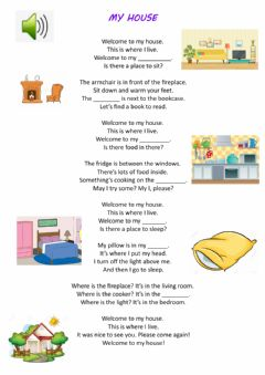 Interactive worksheet My house song.