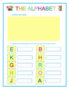 Interactive worksheet Learning the alphabet