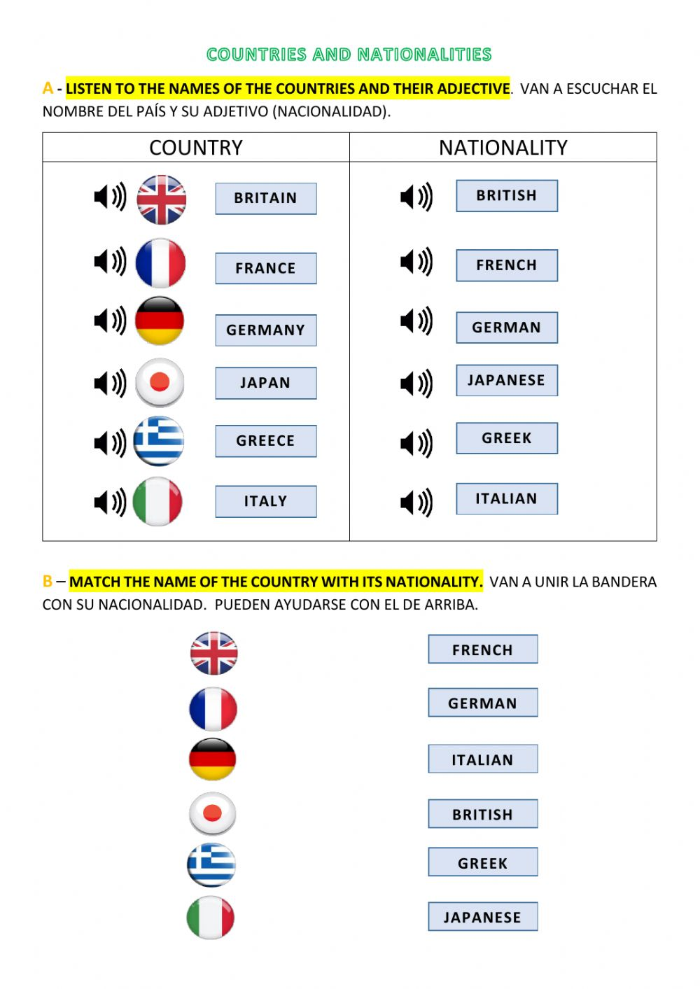 Countries and nationalities online pdf worksheet