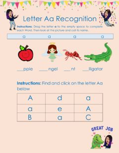 Interactive worksheet Letter  Recognition Aa
