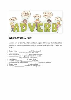 Interactive worksheet Adverbs - where,when,how
