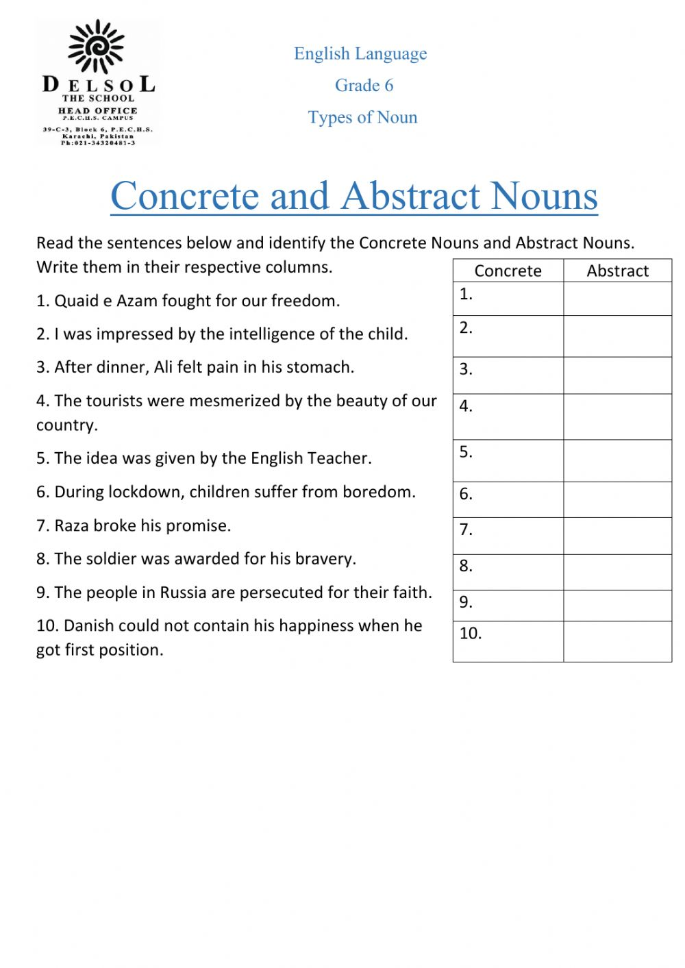 Concrete Abstract Nouns Worksheet