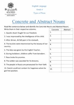 Interactive worksheet Concrete & Abstract Nouns