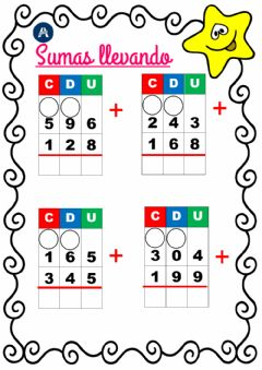 Interactive worksheet Sumas llevando