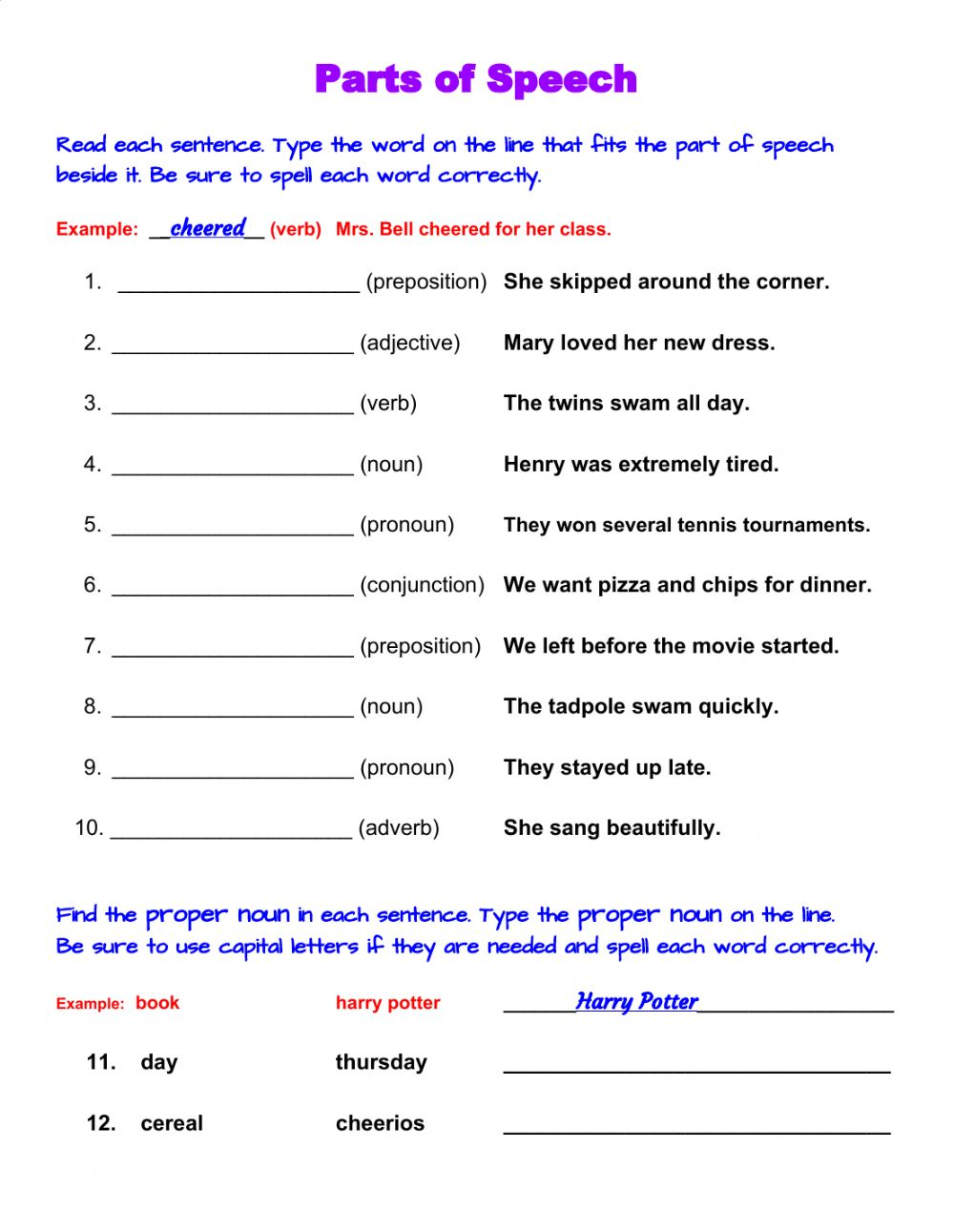Parts of Speech write the word   Interactive worksheet