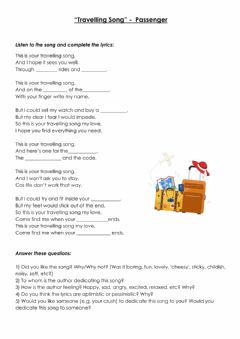 Interactive worksheet Travelling Song by Passenger