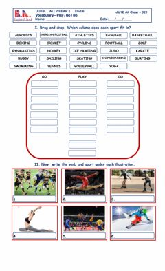 Interactive worksheet Sports - do, go & play