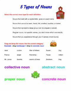 Interactive worksheet 5 Types of Nouns (schoolhouse)