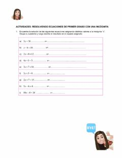 Interactive worksheet Ecuaciones multiplicativas