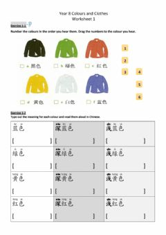 Interactive worksheet Y8 Colours and Clothes 01