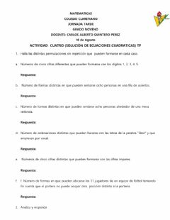Interactive worksheet Permutación sin repetición