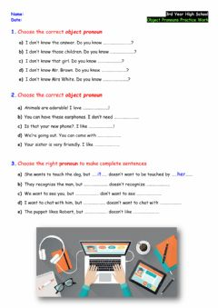 Ficha interactiva 3rd - Object Pronouns - Practice