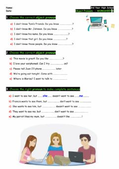 Ficha interactiva 3rd - Object Pronouns - Worksheet B