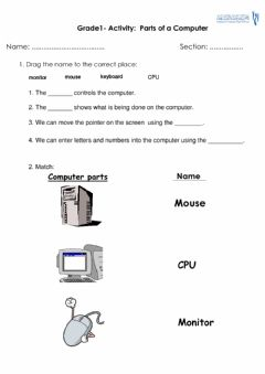 Interactive worksheet Grade1- parts of a computer