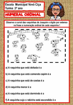 Interactive worksheet Numeral ordinal