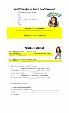 Interactive worksheet past simple and continuous, when and while