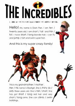 Interactive worksheet The incredibles