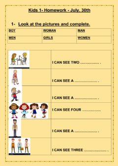Interactive worksheet Homework kids 1