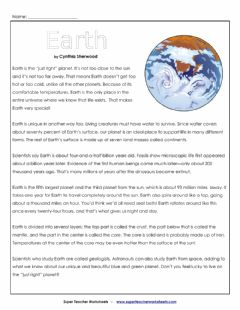 Interactive worksheet Earth Article and Questions