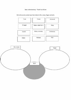 Interactive worksheet Thank you Ma'am - Ven Diagram