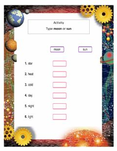 Interactive worksheet Moon or Sun