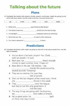 Interactive worksheet Talking about the future: plans and predictions