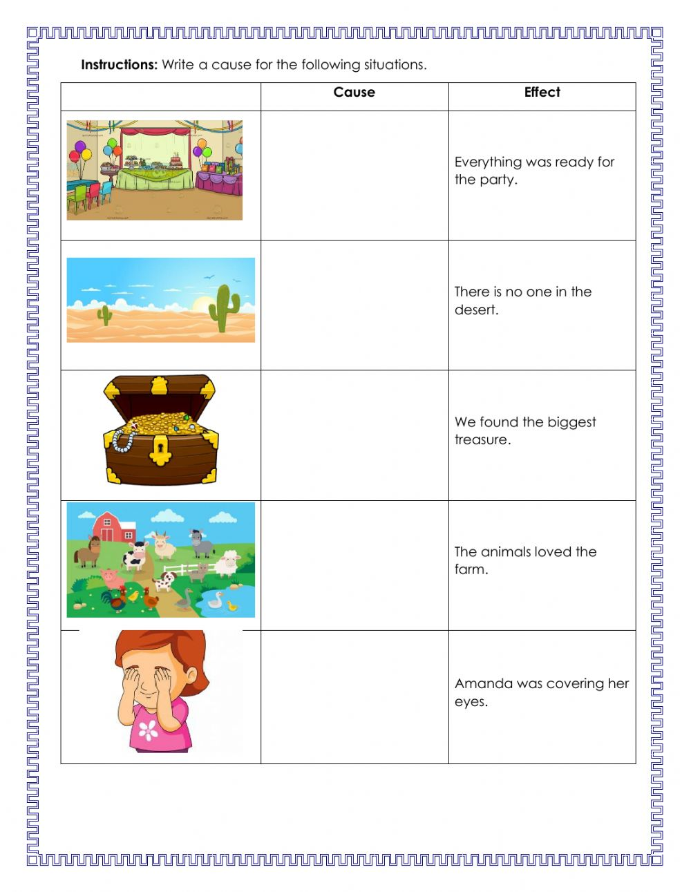 Cause and Effect online activity for Grade 2