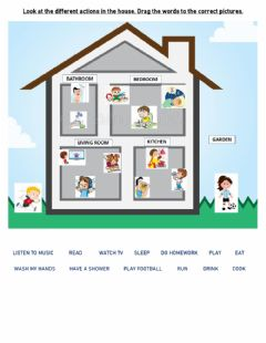 Interactive worksheet Actions in the house