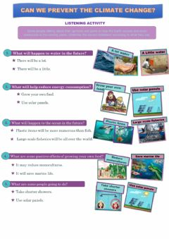 Interactive worksheet How to help the Earth. Listening activity