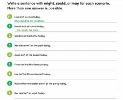 Interactive worksheet Modals of Possibility -- Write Sentences