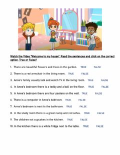 Interactive worksheet Welcome to my house - True or False