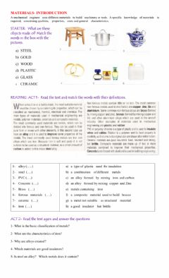 Interactive worksheet Materials introduction