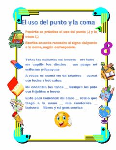 Interactive worksheet El punto y la coma