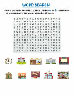 Interactive worksheet Places in town WORD SEARCH
