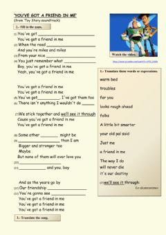 Interactive worksheet You've got a friend in me