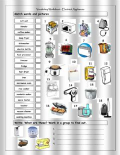 Interactive worksheet Electrical Appliances