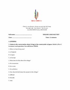 Interactive worksheet Lớp 8 - Unit 2 LIFE IN THE COUNTRYSIDE-LISTENING