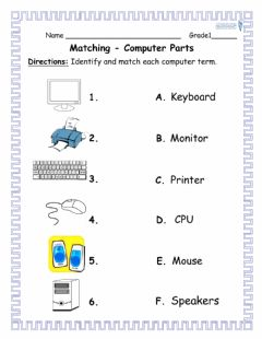 Interactive worksheet Grade1- Activity1- parts of a computer