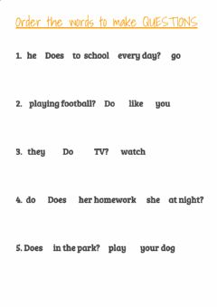 Interactive worksheet Questions - DO AND DOES