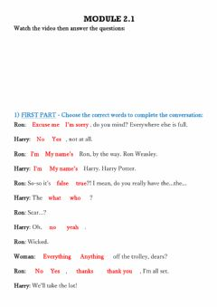 Interactive worksheet Introductions - Watching Harry Potter