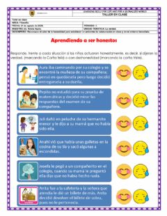 Interactive worksheet La honestidad